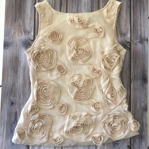 Baraschi Ivory Top with Coolest Roses Design
